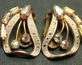 Aurora Borealis Rhinestone Gold Tone Vintage White Enamel Earrings Clip On