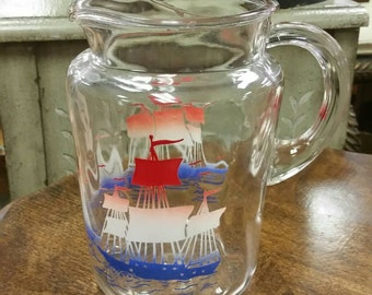 Federal Glass Pitcher with Red White Blue Sailboats