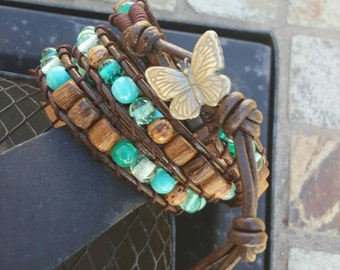 Wood and turquoise leather wrap bracelet with butterfly button closure