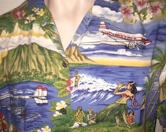 Vintage short-sleeve 100% Rayon Hawaiian shirt by Reyn Spooner, multi-color, Sz L