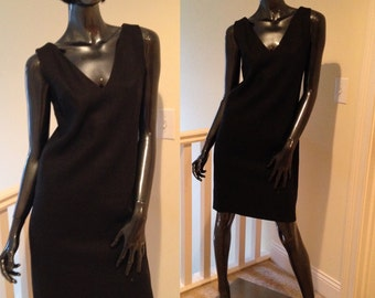 60's Black Linen Shift Dress BH Wragge LBD Minimalist Dress Linen Dress Shift Chic Sleeveless Black Dress size 4-6 small dress