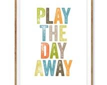 Play the Day Away Printable, Playroom Decor, Boys Nursery Print, Playroom Wall Art, Kids Room Print, Safari Theme Nursery