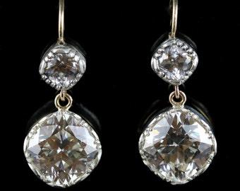 Antique Georgian Paste Earrings Double Drop 18ct/silver
