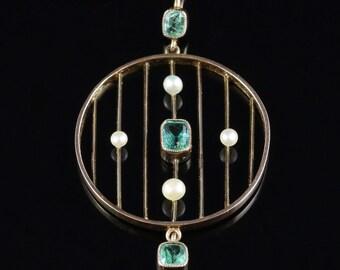 Antique Victorian Emerald Pendant Circa 1880 18ct Gold
