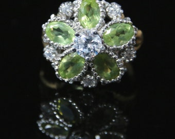 Peridot and Paste Cluster Ring 18ct and Silver