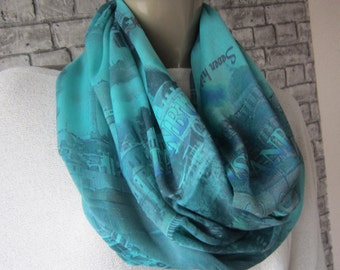 Blue Infinity Istanbul Print Scarf/ Linen Blue Scarf, Women Fashion,Women Gift For her, Sale