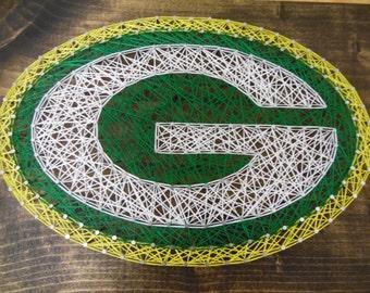 Packer String Art, Football String Art, Green and Gold String Art, Packer wall Decor, Green Bay String Art, Football Decor, String Art sport