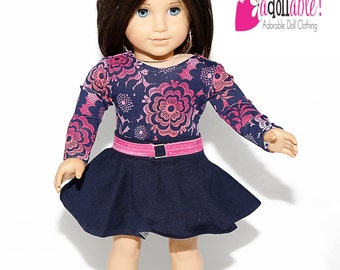 American made Girl Doll Clothes, 18 inch Girl Doll Clothing, Navy Floral Top, Skater Skirt made to fit like American girl doll clothes