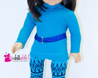 American made Girl Doll Clothes, 18 inch Girl Doll Clothing, Turq Top, Aztec Inspired Leggings made to fit like American girl doll clothes