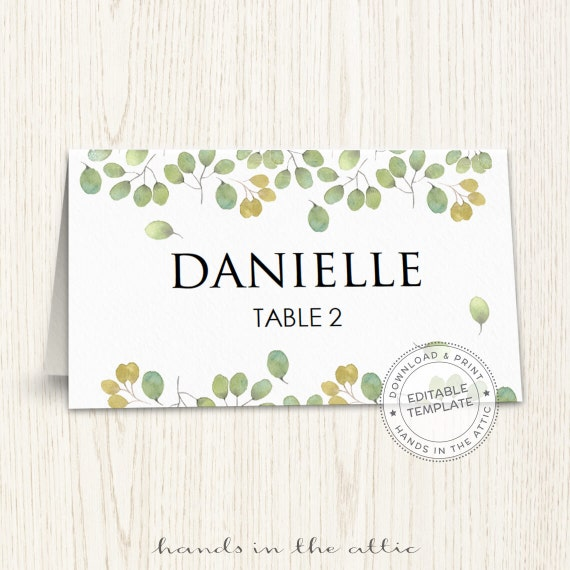 Editable seating cards template, wedding guest cards, printable ...