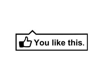 Large - You Like This! Facebook Thumb, Decal / Sticker, facebook decals, facebook thumbs up, facebook stickers, facebook thumb sticker.