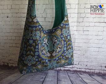 Crossbody Sling Bag, Large Hobo Bag, Tiger Bag, Cross Body Bag, Gypsy Bag, Bohemian Bag, Hobo Purse, Shoulder Bag, Sling Bag