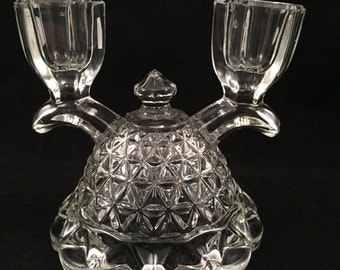 Vintage Cut Glass Double Candle Holder