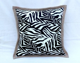 Black and White Zebra Print Cushion with Hessian Edging