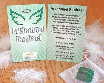 Archangel Raphael guidance card with Malachite, angel, Archangel Raphael, guidance, crystal, malachite, archangel guide, angel, archangel
