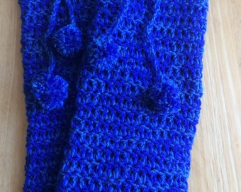 Royal Blue and Medium Blue Blend Crochet Leg Warmers
