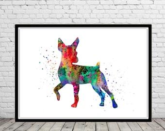 Miniature pinscher, watercolor pinscher, miniature pinscher print, watercolor art print, animal painting, home decor, animal art, (2077b)