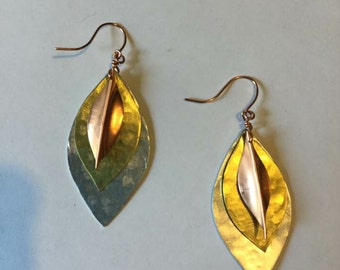 Copper Aluminum Brass Layered Leaf Earring