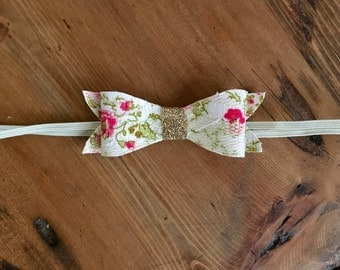Bow Headband, White Floral Bow, White Bow Headband, White, Pink Gold Bow, Clip, Headband, Toddler, Baby Girl
