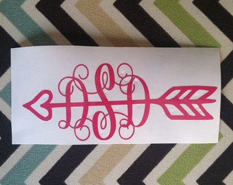 Arrow script monogram decal