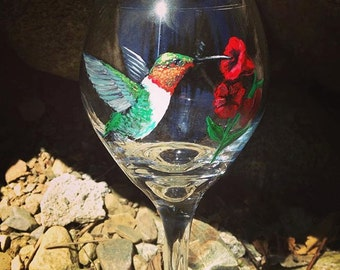 Hand Painted Humminbird with Red Flower Drinkware