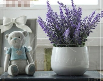 Lavender Artificial Flowers + Flowerpot Set Home Decor Indoor Desk Decoration