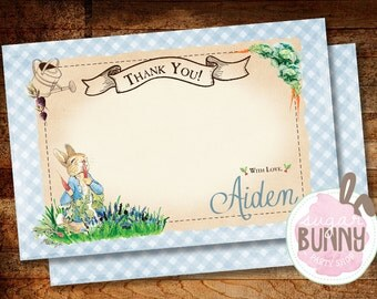 Printable Peter Rabbit 1st Birthday or Baby Shower Thank You Cards