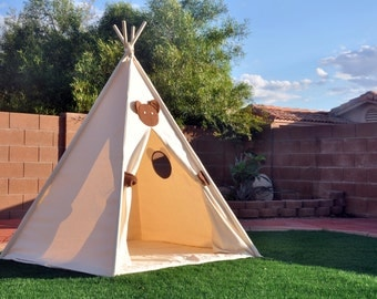 Bear Canvas Plain Kids Teepee, Kids Play Tent, Childrens Play House, Tipi,Kids Room Decor
