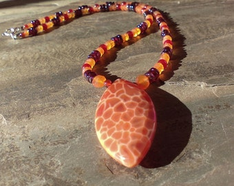 Fire Agate, Carnelian and Garnet