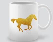 Gold horse Art Mug - Coffee Mug - Tea Mug - White Ceramic Mug - Unique Coffee Cup - Tea Time Gift