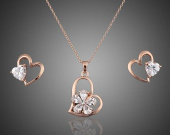 Heart Crystal Swarovski Elements Sets, Valentine Gift for her, Valentine Heart Necklace