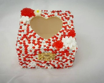 Red white and silver treasury box, jewellery box, keep sake box, trinket box, red and white flowers, wooden box, woman gift
