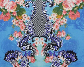 "43"" Craft Fabric Floral Printed Fabric Blue Sewing Fabric Apparel Cotton Fabric Dressmaking Fabric Material Indian Fabric By 1 Yard ZBC5708"