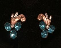 Amco 12K Gold Filled Rhinestone & Crystal screw-back Earrings - CA 1950's - Item VS 101