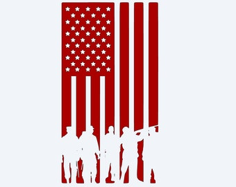 American Flag With Soliders Vinyl Decal