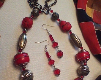 ON SALE! - Red Boho Chunky Necklace Set - Lots of Baubles, etc.