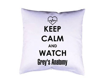 "Grey's Anatomy Pillow case 16"" cushion cover with print on both sides optional with filling white"