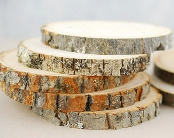 """8 Small Wood Rounds, 3-4.5"""", Tree Slices"""
