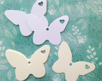 Butterfly Tags (6 pack), Blank Butterfly Shaped Tags, Valentines Tags, Paper Tags, Wedding Tags, Gift Wrapping, Party Favour Tags