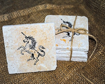 Tri-Unicorn Coaster Set, Set of 4 Coasters, Tile Coasters