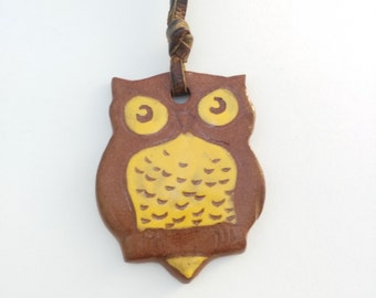 Vintage Owl Pendant, Boho Retro Necklace, Owl Necklace, Gift Woman Lady Her, Mother's Day Gift, Brown Owl Leather Thong, Festival Jewelry