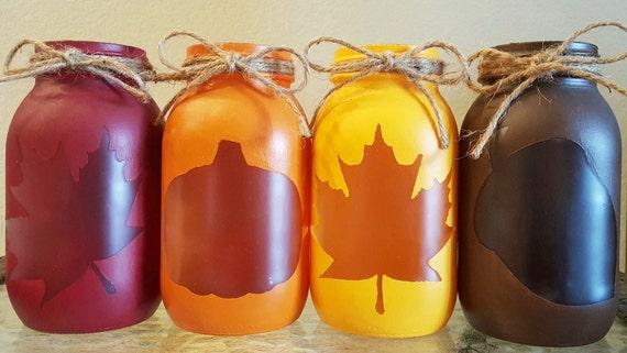 Red, Orange, Yellow and Brown Fall Leaf, Pumpkin and Acorn Mason Jar Lanterns