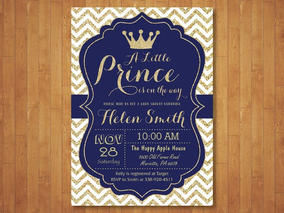 Prince Baby Shower Invitation Royal Blue and Gold Crown Baby