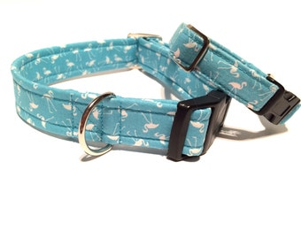 Dog Collar Sea Blue Flamingo Print