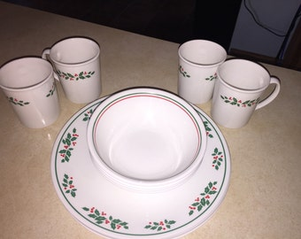 Corning Corelle Christmas Hollydays four place setting.