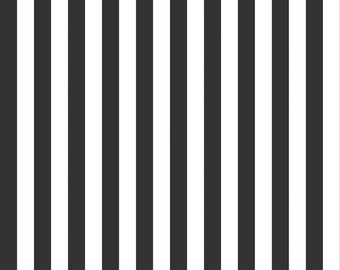 Black and White 1/2 Half Inch Stripe by Riley Blake Designs - Stripes - Quilting Cotton Fabric - by the yard fat quarter half