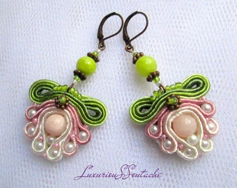 Gentle Soutache earrings with pink and lime nephritis Soutache jewelry Trendy dangle earrings Soutache embroidery earrings Gift for women