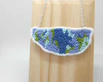 Blue and Green Embroidery Necklace, Statement Embroidered Pendant, Embroidery Jewelry, Fiber Jewelry