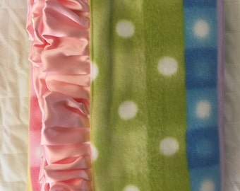 Boutique baby blanket with pink ruffles
