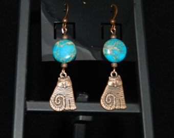 Blue Sea Sediment Cat Earrings